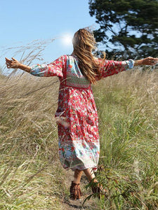 Women's Bohemian Boho Maxi Dress Sexy V Neck Tassel Beach Tunic Summer Dress