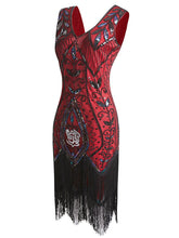 Load image into Gallery viewer, 1920s Floral Sequined Fringe Flapper Dress