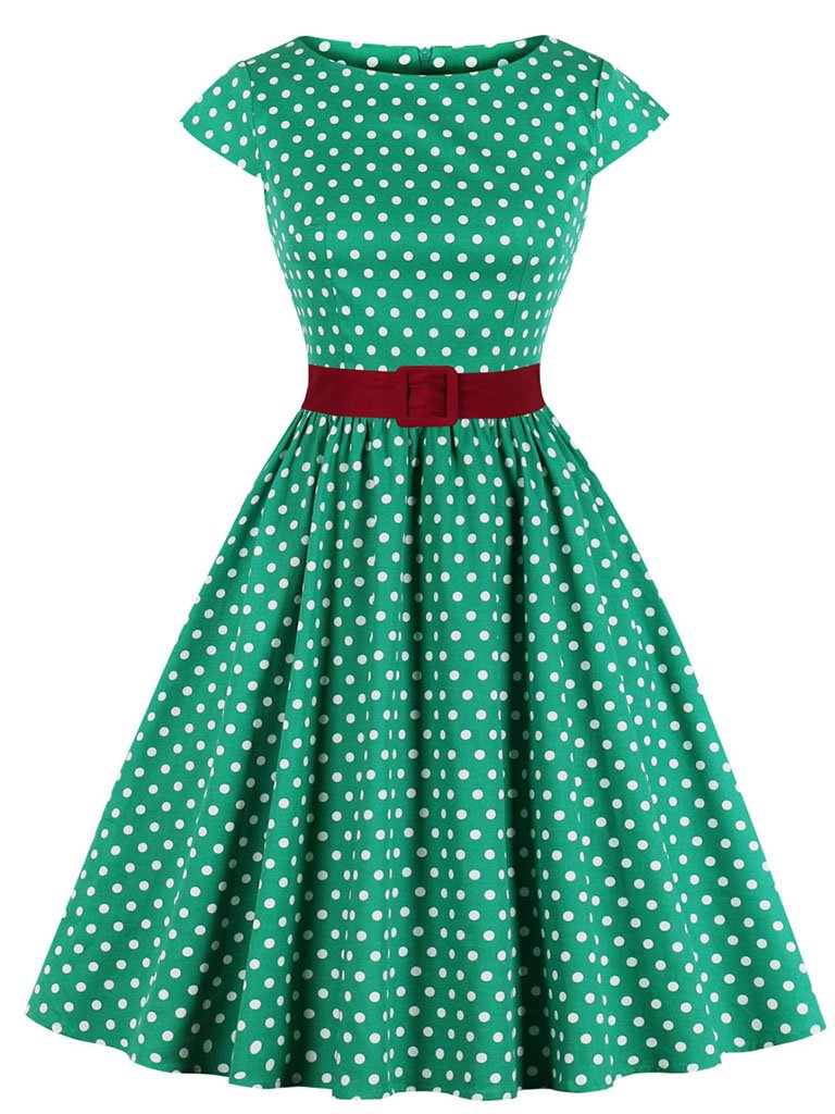 1950s Polka Dot With Belt Vintage Dress