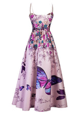 Load image into Gallery viewer, Elegant Butterfly Floral Spaghetti Maxi Dress