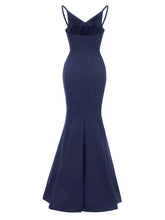 Load image into Gallery viewer, Sling Solid Color Backless Spilt Satin Vintage Party Maxi Dress