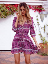 Load image into Gallery viewer, Boho Dress Floral Printed Half Sleeve Midi Length Beach Dress