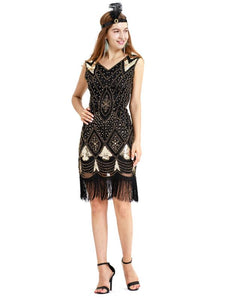 Black Gold 1920s V Neck Sequined Flapper Dres