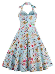Halter Off Shoulder Floral Bow Retro Dress