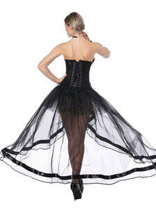 Gothic Costume Halloween Strapless Asymmetrical Skirt And Corset