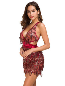Deep V Sequin Back Cross Mini Dress