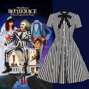Beetlejuice Costume Pocket Dress Black and White Vertical Stripe Dress With Earrings