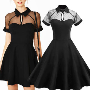 Elegant Keyhole Semi Sheer Short Sleeve Vintage Dress