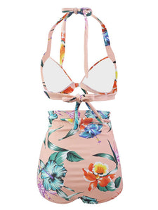 Pink Floral 3D Print Retro Style Bikinis swimsuits