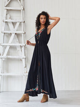 Load image into Gallery viewer, Women's Boho Dress V Neck Split Embroidered Sleeveless Maxi Dress