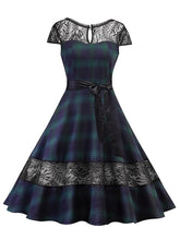 Load image into Gallery viewer, Elegent Low Back Lace Plaid Cap Vintage Dress