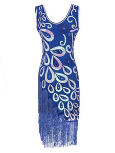 3 Colors 1920s Peacock Sequined Flapper Dress