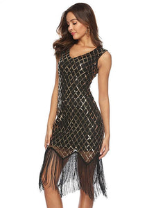 Sequin Mesh Fringer Bobycon Evening Dress
