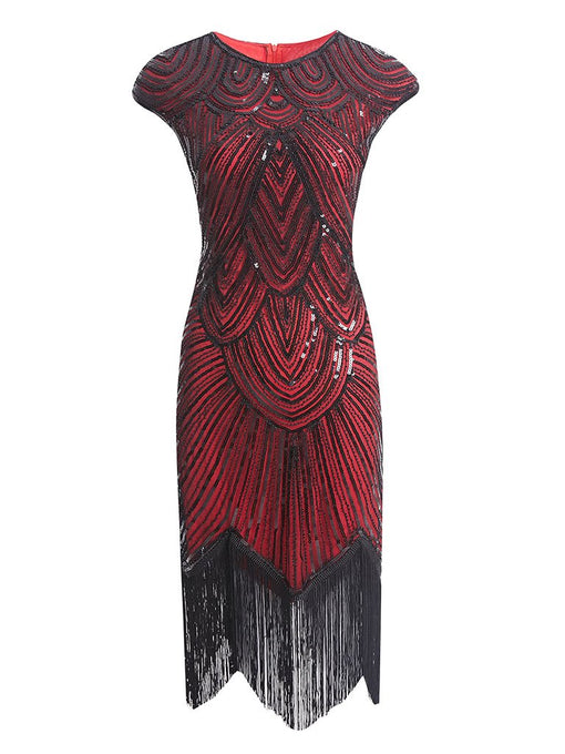 Wine Red 1920s Sequined Flapper Dress