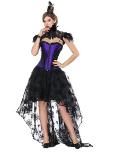 Gothic Costume Halloween Purple Strapless Asymmetrical Skirt And Corset