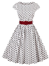 Load image into Gallery viewer, 1950s Polka Dot With Belt Vintage Dress