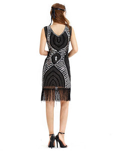 Black Gold 1920s V Neck Sequined Fringed Flapper Dress