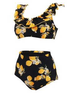 Floral Retro Style Slide Pleated Two Pieces Bikini Sets