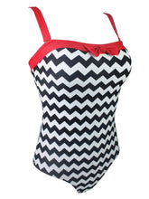 Load image into Gallery viewer,   Zigzag Graphics 3D Print Strap Backless Retro Style One Piece Swimwear