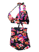 Load image into Gallery viewer,   Floral Print Halter Backless Retro Style Binikis Swimwear