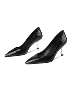 7CM High Heel  Pointed Toe Leather Shoes
