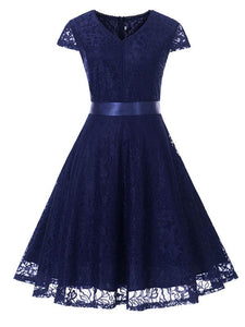 A Line Solid Color Lace Cap Sleeve Vintage Dress