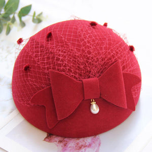 Women Wool Bow Artist Hat Cap With Grenadine