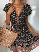 Load image into Gallery viewer, Women's Bohemian Boho Dress Floral V Neck Short Sleeve Midi Dress