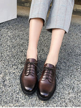 Load image into Gallery viewer, Women's Oxfords Round Toe Sheepskin Vintage Shoes
