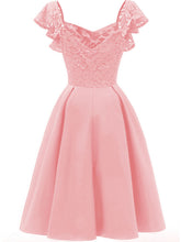 Load image into Gallery viewer, Solid Color Sweetheart  Lace Butterfly Sleeve A line Vintage Party Dress