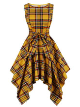 Load image into Gallery viewer, Retro Dress 1950s Vintage Plaid Crew Neck Irregular Vintage Dress