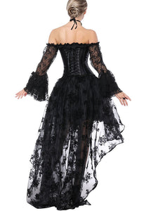 Gothic Costume Halloween Black Strapless Asymmetrical Skirt And Corset