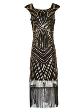 Load image into Gallery viewer, 3 Color 1920S Sequined Fringe Gatsby Flapper Dress