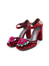 Load image into Gallery viewer, Luxury Velvet Rose Flower Chunky Heels Retro Shoes