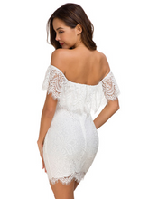 Load image into Gallery viewer,   Off Shoulder Lace Vintage Party Dress