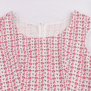 Cotton With Pocket Crewneck Floral 50S Pink Dress