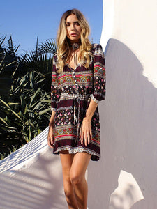 Boho Dress Floral Printed Half Sleeve Midi Length Beach Dress