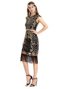 Dark Green 1920s Crew Neck Sequined Fringed Flapper Dress