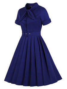 Cotton Bow Collar Short Sleeve 50s 60s Flapper Dress