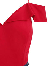 Load image into Gallery viewer, Red 1950s Star Cold Shoulder Dress