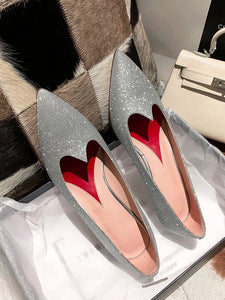 Women's Heels Low Heel Pointed Toe Sheep Skin Leather Shoes