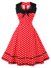 Load image into Gallery viewer, White 1950s Polka Dot Swing Dress