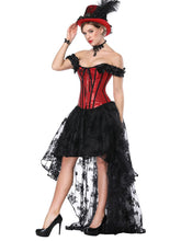 Load image into Gallery viewer, Gothic Costume Halloween Red Strapless Asymmetrical Skirt And Corset