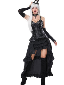 Steampunk Costume Halloween Black Women Tiered Skirt And Corset