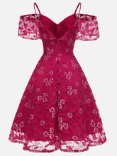 Load image into Gallery viewer, Floral Printed  Lace Spaghetti Strap Dress