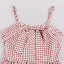 Load image into Gallery viewer, With Pocket Spaghetti Strap Plaid 50S Pink Dress