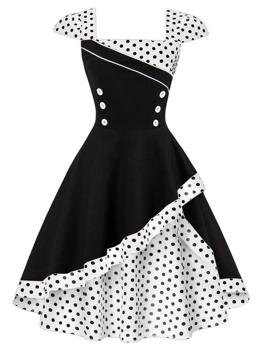 Polka Dots Cotton Flapper 1950s Dress