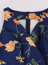 Load image into Gallery viewer, V Neck Printed Sweet 50S Vintage Dress With Belt