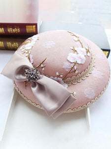 Pink Plum Embroidery Flower And Bow Rhinestone Decoration 1950S Hat