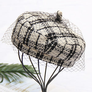 Black White Plaid Worsted Beret Hat Cap With Veil